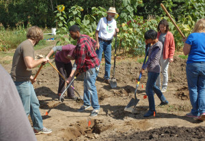 A group effort at the Midwest Permaculture One-Day Course